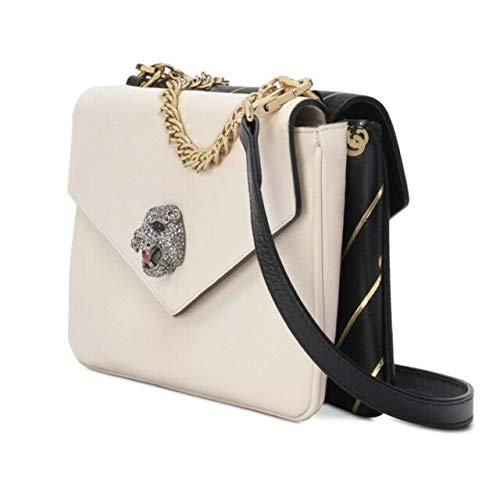 Gucci Gucci Lion Tiger Black White Cream Two Side Gold Handbag Purse Bag NEW