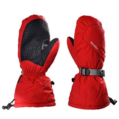 LISM Unisex adult Ski Waterproof Windproof Warm Mittens Thermal Breathable Anti slip Gloves Red S