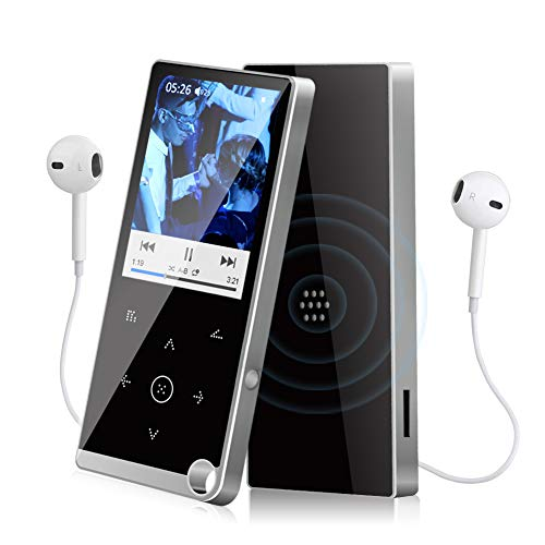 Lettore MP3, 16GB Lettore MP3 con Bluetooth 4.2 Portatile musicali HiFi Lossless MP4 con registratore vocale e altoparlante radio FM, espandibile fino a 128 GB
