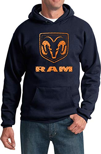 Yoga Clothing For You Dodge Ram Diamond Plate Logo Hoodie, Navy XL