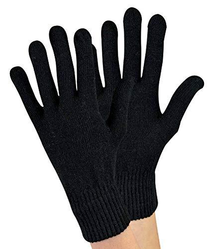 sock snob 1 Paar Damen Winter Warm Outdoor Dünn Gestrickt Thermo Wollhandschuhe (One Size, Black)