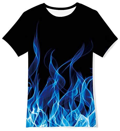 ALISISTER T-Shirt Kinder Lustige 3D Blaues Rauchen Gedruckt Kurzarm Tees Jungen Mädchen Sommer Lässige Sportparty Coole Shirts Top