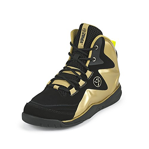 Zumba Women's Energy Boom High Top Athletic Shoes Dance Gym Workout Sneakers Training, Gold Metallic/Black, 5