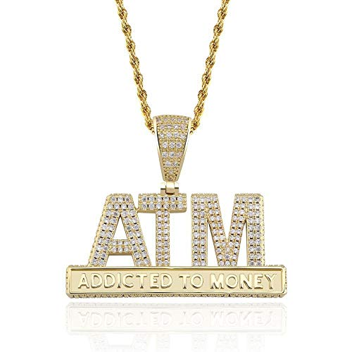NCDFH Hip Hop Micro Pave Cubic Zirconia Iced Out Addicted to Money Pendants Necklace for Men Rapper Jewelry Gold Color Gold 24inch Rope Chain