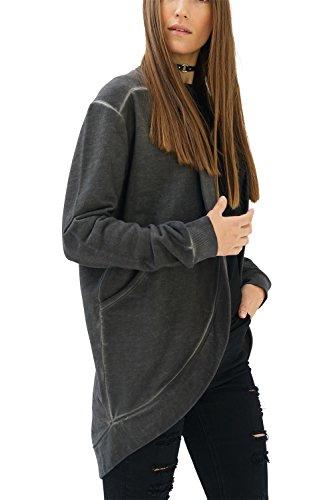 trueprodigy Casual Mujer Marca Sudadera Basico Ropa Retro Vintage Rock Vestir Moda Rebeca Manga Larga Slim Fit Designer Fashion Jacket Chaqueta Sueter, Colores:Anthracite, Tamaño:XS