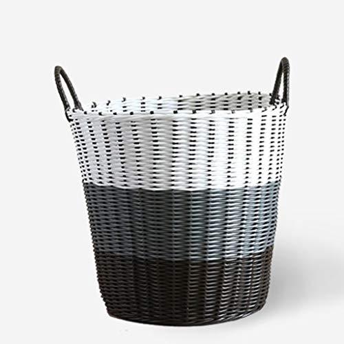 Vuile kleren mand, kleding opslag mand, rotan plastic wasmand (Color : White gray black, Size : XL-46 * 45 * 34cm)