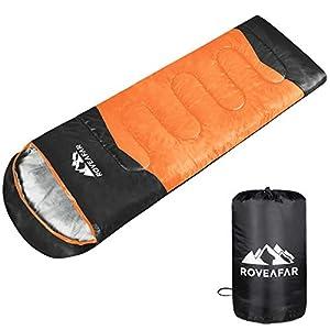 RoveAfar寝袋 シュラフ スリーピングバッグ コンパクト 防水 封筒型 通気 保温 丸洗い可能 防災対策 車中泊 登山 アウトドア 収納袋付き オールシーズン