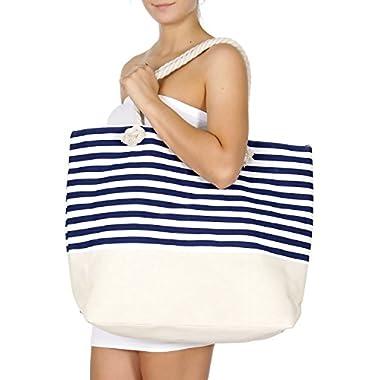SERENITA Extra large canvas beach bag Stripe 1