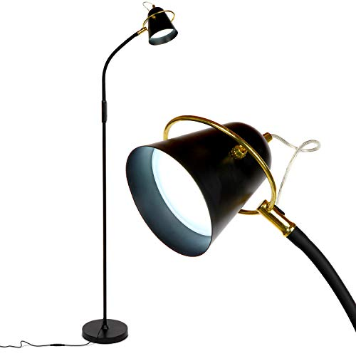 Brightech Zoey - LED Reading, Craft & Task Floor Lamp - Dimmable & Light Color Adjustable with Touch Switch- Standing Bright Light with Memory Function - For Living Room Or Office Tasks - Black Art Deco Swivel Lamp