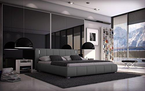 SEDEX Bett Luna 180x200cm Doppelbett/Polsterbett inkl. LED/Kunstleder - grau
