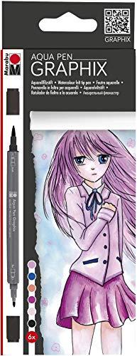 Marabu Make Manga Ensemble de 6 Stylos/Marqueurs de Couleur Aquarelle