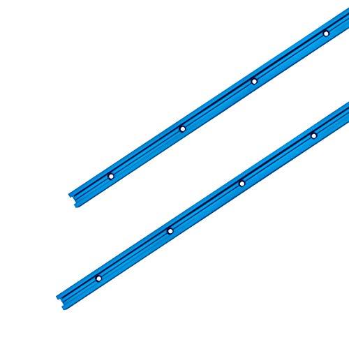 """PowerTec 71118 Perfil de Doble Corte Universal Agujeros de Montaje pretaladrados (Paquete de 2), 0 W, 0 V, Azul anodizado, 24"""" T-Track ✅"""