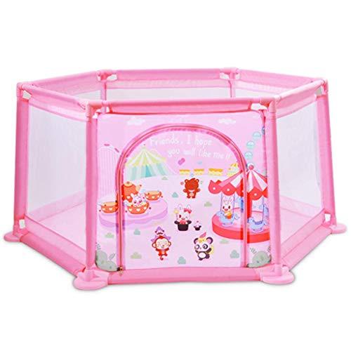 LHSUNTA Laufgitter Baby Zaun Baby Laufstall Sicherheit Höhe Zaun Sechseckig Kinder Zelte Säugling Spielbereich Spielzeug (50 Spielbälle sind enthalten, Pink)