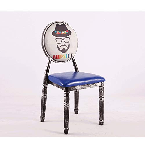 DATONG Silla Retro Europea Silla de Comedor Silla de Maquillaje Americano de Hierro Forjado sillón de heces Durable (Color : Silver, Size : 4)