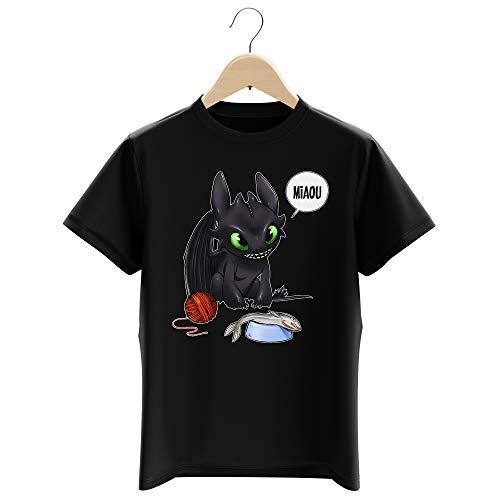 Okiwoki T-Shirt Enfant Garçon Noir Parodie Dragons - Krokmou - Après Le Poisson Chat. Le Dragon Chat : (T-Shirt Enfant de qualité Premium de Taille 3-4 Ans - imprimé en France)