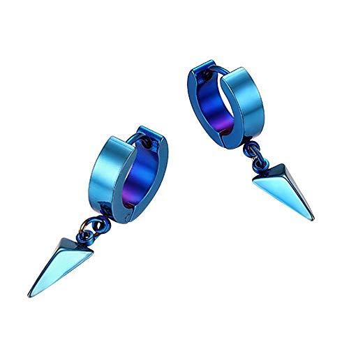 Pendientes Mujer Pendientes De Acero Inoxidable Triangulares con Colgante De Estilo Masculino para Mujer-Azul