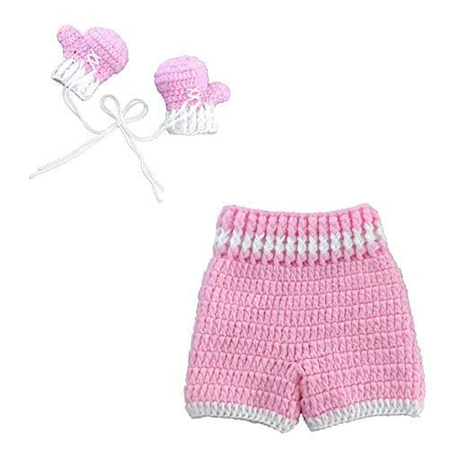 Boyigog Baby Boxhandschuh Set, Gehäkeltes Babyoutfit für Neugeborene, Neugeborene Fotografie Prop Hosen Outfits, Foto-Requisite (Rosa)