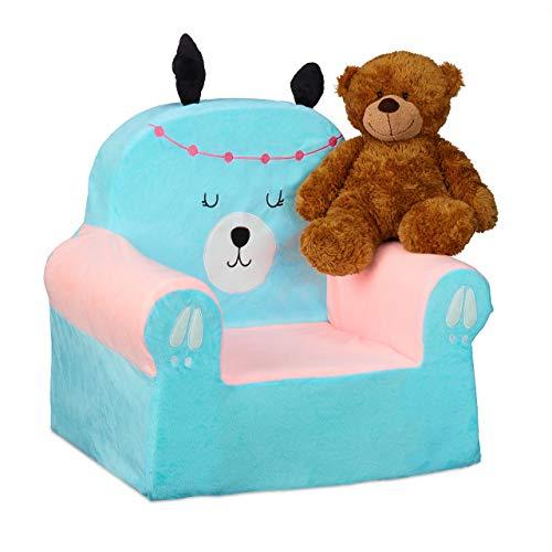 Relaxdays Kindersessel, weiches Kindersofa für Jungen & Mädchen, Lama-Design, Babysessel 47 x 52 x 37 cm, hellblau/rosa