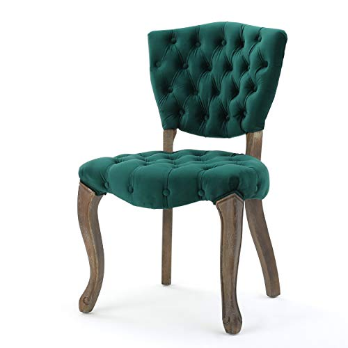 Christopher Knight Home Bates Tufted Velvet Fabric Dining Chairs, 2-Pcs Set, Dark Green