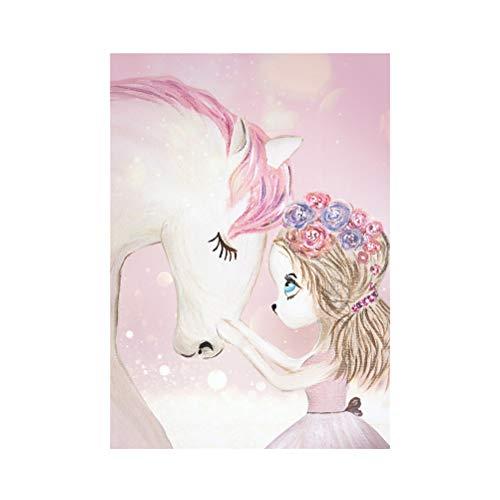 Garneck Unicornio Pintura decoración Hermosa Lienzo Lindo decoración sin Marco Pintura Colgante para la habitación del niño Dormitorio en casa (sin Marco)