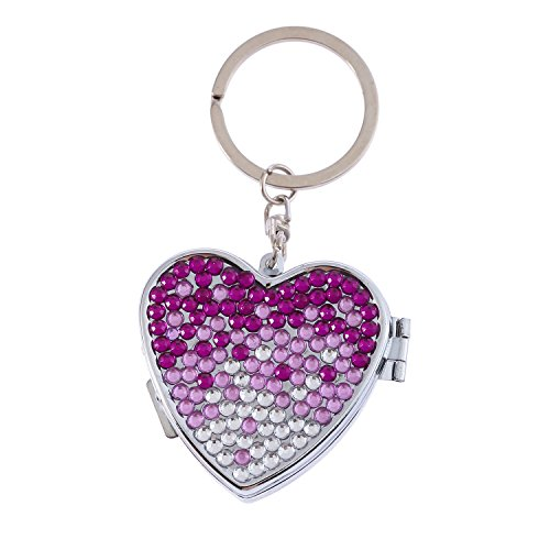 Handmade Heart Shape Gradient Purple Bling Crystal Portable Pill Box Cute Rhinestone Pill Splitter Container Case