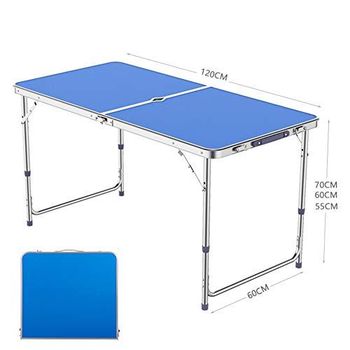 DSYYF Mesa de Camping portátil, Mesa de Camping Plegable de aleación de Aluminio Duradera Ajustable en Altura para Fiesta de Picnic de Barbacoa al Aire Libre, 120 cm,Azul,2 stools