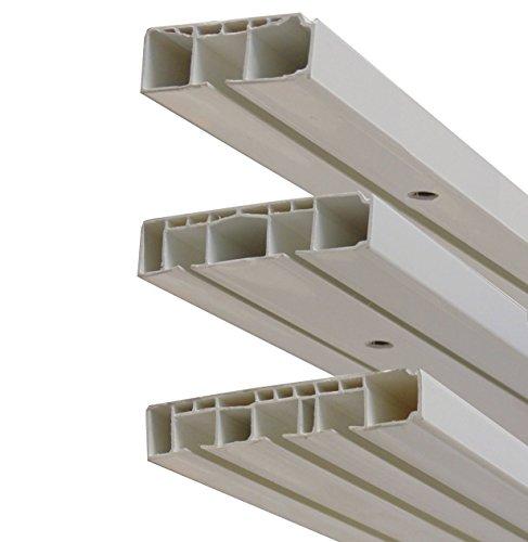 Garduna # 360cm /2-läufig # (2x180cm mit Verbinder) Kunststoff Gardinenschiene Vorhangschiene, (1-/ 2-/ 3-läufig, Kunststoff, Weiss)
