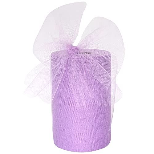 Tulle Fabric Rolls 6 Inch by 100 Yards (300 feet) Tulle Spool for Wedding Party Decorations Gift Bow Craft Tutu Skirt (Lavender)