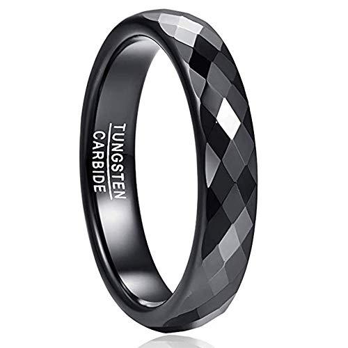 NUNCAD Ring Damen Herren Schwarz, Unisex Fashion Ring aus Wolfram für Alltag, Hochzeit und Verlobung Größe 62(22)