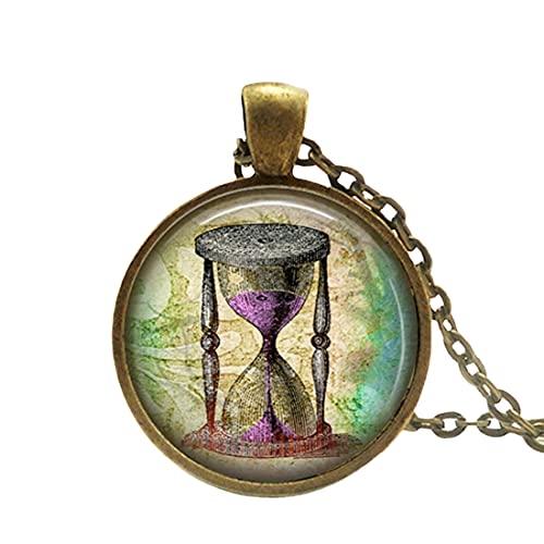 Collar de reloj de arena Steampunk, collar con temporizador de arena, colgante de reloj de arena, collar de estilo vintage, colgante de joyería del viejo mundo