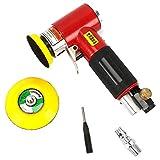 Mini-Exzenter-Luft-Winkelschleifer Grinder Polisher Elecentric Pneumatische Polierschleifmaschine mit 2 Zoll 3 Zoll Schleifpad - Red & Black