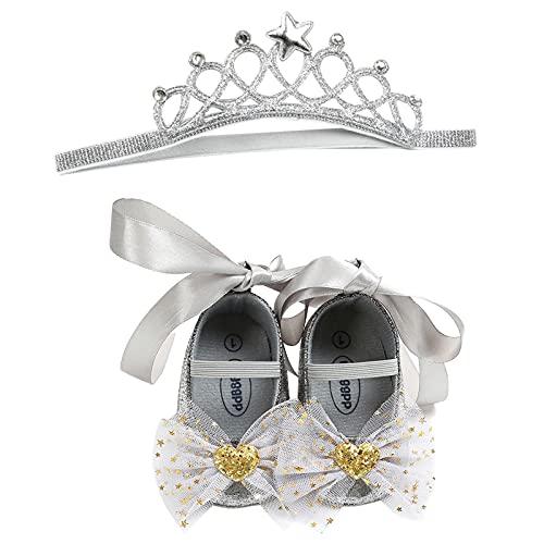 YWLINK Baby Bowknot Princess Shoes Crown Headgear Set Zapatos De Fondo Suave para NiñOs PequeñOs Zapatos De Bebé Headgear Headband Set De 2 Piezas