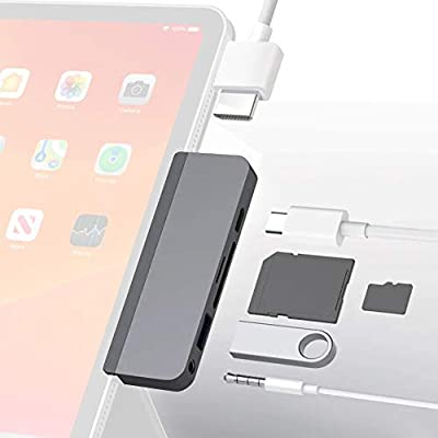 HyperDrive USB C Hub with 6 Ports:Type-C,USB 3.0, 4K HDMI,SD Micro-SD, 3.5mm Audio Jack for iPad pro MacBook Pro Smartphone USB-C-Devices w OTG-Function, Space Gray