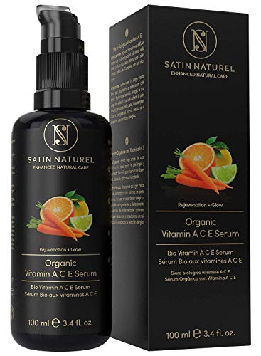 BIO Vitamin C, A&E Anti-Aging Serum mit Hyaluronsäure + Retinol - 100ml – Hochdosiert mit Aloe Vera & Vitamin C – Ideal unter Gesichtscreme - Satin Naturel Naturkosmetik MADE IN GERMANY