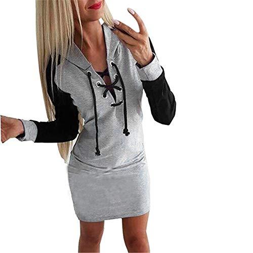 Lialbert Damen Hoodie Kleid Herbstkleid Knielang Wickelkleid, Sweatshirt Langarm Pulloverkleid Oberteil Tops Tunika Outerwear Pullover Lässig mit Lace Up