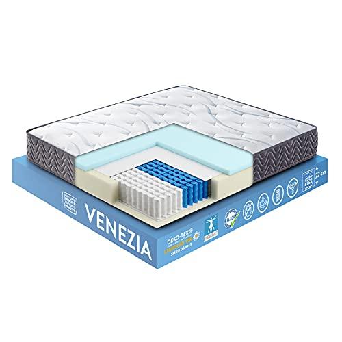 OnNuvo Materasso Matrimoniale Antidecubito, Molle Insacchettate Indipendenti 7 Zone, Lastra AirTechFoam+, Sostegno Perimetrale, 22 cm, Ortopedico, Ipoallergenico, Ergonomico (160x190x22) Venezia