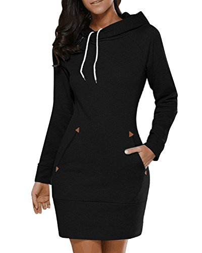 BUIBIU Women's Long Sleeve Cotton Slim Fit Midi Hoodie Dress with Pocket Black S