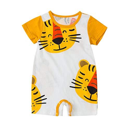 H.eternal - Body para bebé, sin Mangas, una Pieza, Pijama, Estampado de león de Dibujos Animados, Mono de bebé de Verano Amarillo Amarillo 9-12 Meses