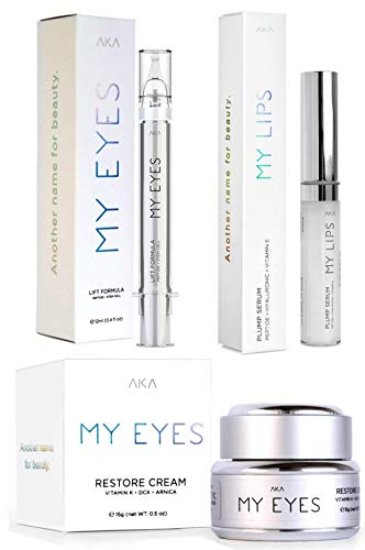 MY LIPS | PLUMP SERUM l anti aging serum + MY EYES | LIFT FORMULA Best Eye Gel for Wrinkles + MY EYE RESTORE CREAM VITAMIN K • DCX • ARNICA Eye Cream