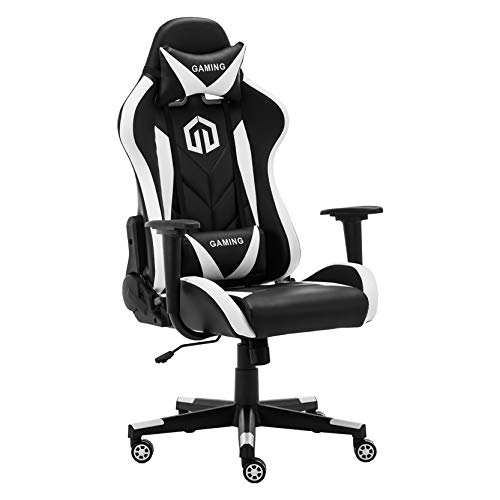 Gaming Chair Racing Office Chair Computer Desk Chair Executive and Ergonomic Reclining Swivel Chair with Headrest and Lumbar Cushion (White) chair gaming