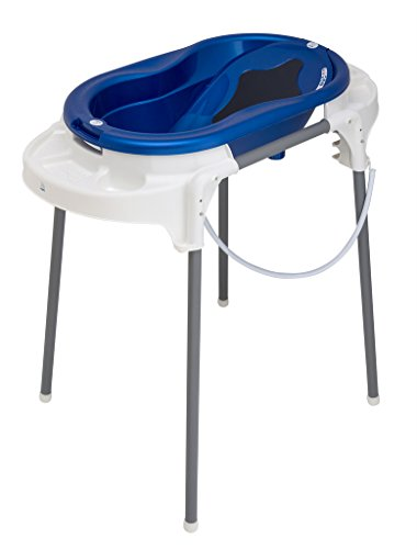 Rotho Babydesign TOP Station de Bain, Avec Baignoire pour Bébé, Support de Baignoire, Dossier de Baignoire et Tuyau de Vidange, 0-12 Mois, Royal Blue, 21042 0265 01