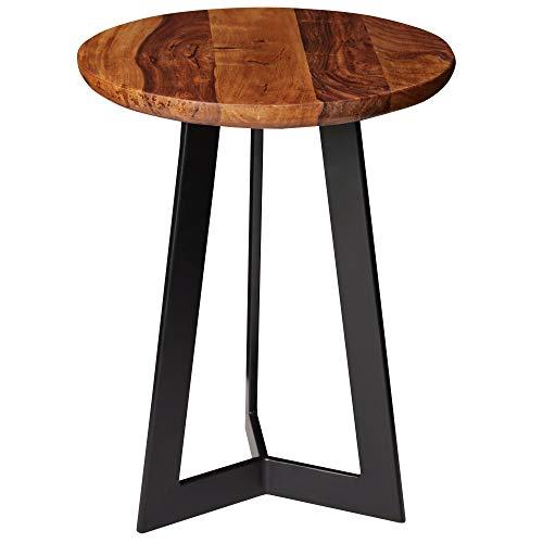 FineBuy Beistelltisch SV51462 Sheesham Holz Metall Couchtisch | Industrial Style Echtholz Hocker Wohnzimmer | Holztisch Sofatisch Metallbeine | Anstelltisch Dekotisch Rosenholz