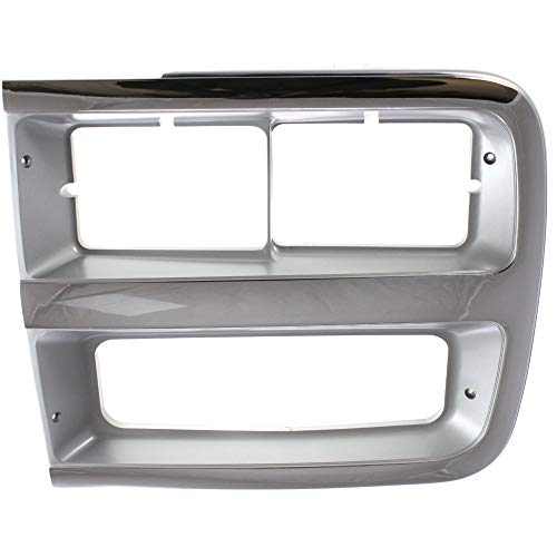 Headlight Door compatible with Chevrolet Van Full Size 92-96 LH w/Dual Head Lamps Chrome/Gray Left Side