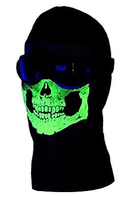 American Made Adult 2 Eye Hole Glowing Skull Ghost Ski Mask Long Neck Balaclava Black