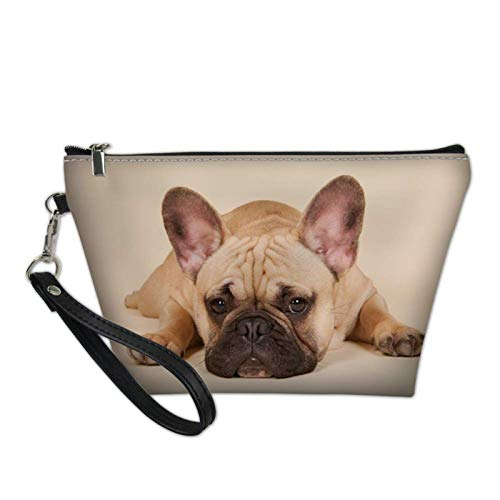 Howilath French Bulldog Funny Dog Print Makeup Bag Travel Casual Clutch Bag Women PU Leather Toiletry Pouch