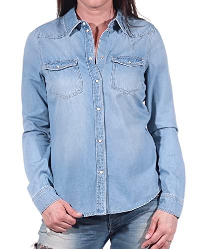 Vero Moda Vmmaria LS Dnm Slim Shirt Mix Ga Noos Ci Camisa, Hellblau, S para Mujer