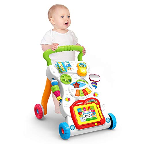 For Sale! Btybess Baby Walker for Toddlers and Infants Multifunctional Adjustable Speed Walker with ...