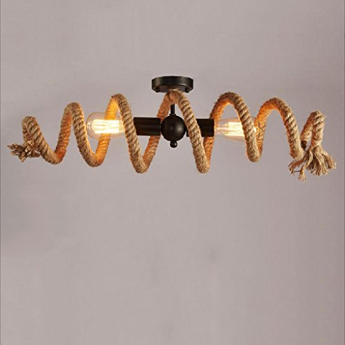 Modeen E27 Eisen Hanf Seil Doppelte Kopf Vintage hängende Anhänger Deckenleuchte Lampe industrielle Retro Country Stil Speisesaal Restaurant Bar Cafe Beleuchtung AC240V