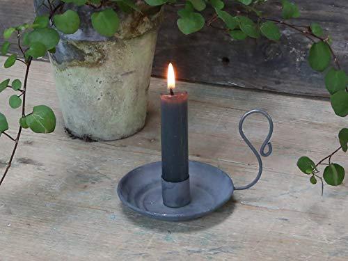 Chic Antique Alter französischer Kammerleuchter Kerzenständer Kerzenhalter mit Griff Ø9cm