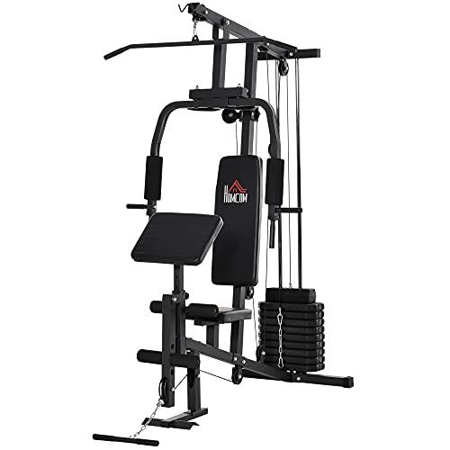 HOMCOM Multiestación Máquina de Musculación con Estribo para Piernas Poleas y Placas de Peso de 45 kg para Entrenamiento Fitness en Hogar Gimnasio 148x108x207 cm Negro